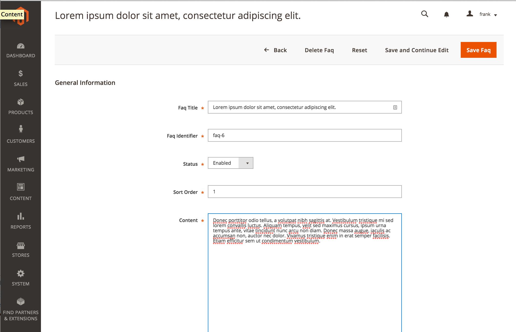 Magento 2 FAQ Module Admin Form